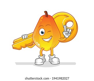papaya carry the key mascot. cartoon vector