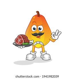 papaya chef with meat mascot. cartoon vector