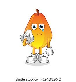 papaya cry with a tissue  character. cartoon mascot vector