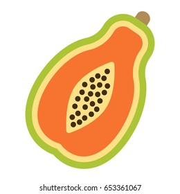 Papaya flat icon, fruit and tropical, vector graphics, a colorful solid pattern on a white background, eps 10.