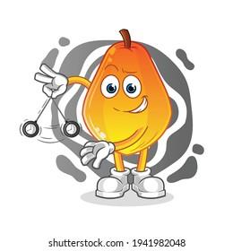 papaya hypnotizing cartoon. cartoon mascot vector