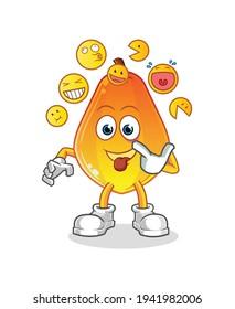 papaya laugh and mock character. cartoon mascot vector