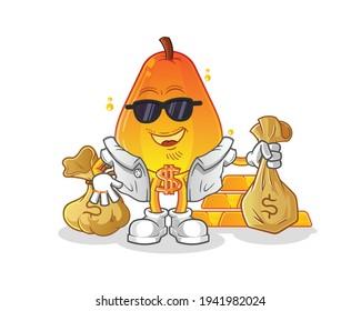 papaya rich character. cartoon mascot vector