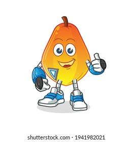 papaya robot character. cartoon mascot vector