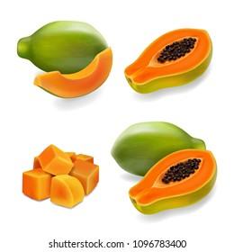 Papaya set, pawpaw, paw paw, slice and whole juicy fruit