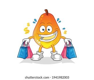 papaya shoping mascot. cartoon vector