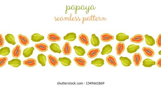 Papaya slices on a white background. Seamless pattern