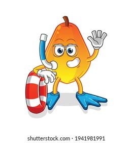 papaya swimmer with buoy mascot. cartoon vector