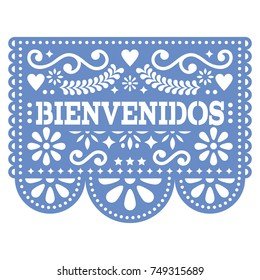 Papel Picado Bienvenidos vector design - Mexican Welcome paper decoration with pattern and text Cut out paper template with flowers and abstract shapes, festive floral composition in blue