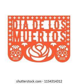 Papel Picado, Mexican paper decorations for party. Cut out compositions for Mexican Day of the Dead. Paper garland. Vector template design.