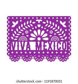 Papel Picado, Mexican paper decorations for party. Paper garland. Cut out compositions with text Viva Mexico. Vector template design.