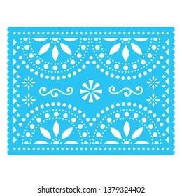 Papel Picado vector design, Mexican cut out paper decorations with flowers and geometric shapes, traditional fiesta banner in blue. Traditional banner form Mexico, Cut out floral composition