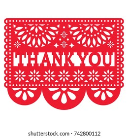 Papel Picado vector design - Thank you card, Mexican pattern  Cut out paper template with flowers and abstract shapes, festive floral composition in red isolated on white