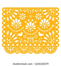 Papel Picado vector floral design with birds, Mexican paper decorations template in yellow, traditional fiesta banner.  Folk art, retro ornament form Mexico, cut out composition with flowers isolated