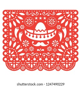 Papel Picado vector floral design with sombrero and chili peppers, Mexican paper decorations template in orange, traditional fiesta banner. Folk art, retro ornament form Mexico, cut out composition