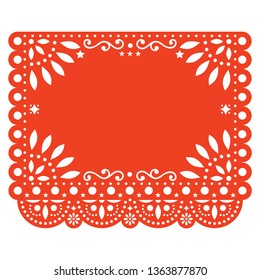 Papel Picado vector floral template design with abstract shapes, Mexican paper decorations pattern in orange, traditional fiesta banner with empty space for text. Folk art, retro ornament form Mexico