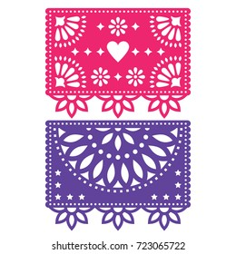 Papel Picado vector template design set, Mexican paper decorations flowers and geometric shapes, two party banners  Traditional banner form Mexico, Cut out floral compositions isolated on white