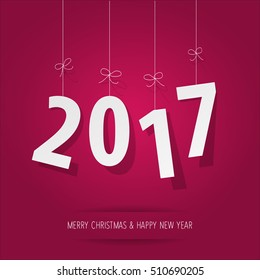 paper 2017 digits on pink background