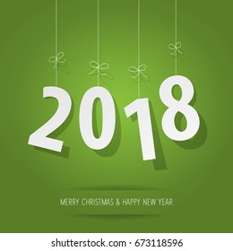 paper 2018 digits on green background