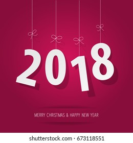 paper 2018 digits on pink background
