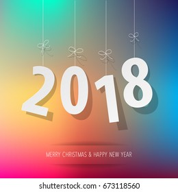paper 2018 digits on rainbow bokeh background