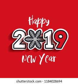 Paper 2019 text design with snowflake. Happy New Year lettering. Vector greeting illustration with white numbers on red background