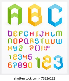 Paper 3D alphabet letters and numbers