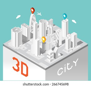 Paper 3d city. Isometric buildings landscape. Town and elegant urban architecture, business houses. Vector illustration