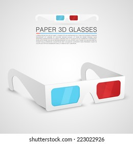 Paper 3d glasses, Glasses object, Glasses red blue, Glasses stereo, Glasses Vector 3d, Paper glasses eps, Vector illustration