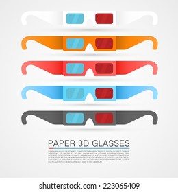 Paper 3d glasses, Glasses object, Glasses red blue, Glasses stereo, Glasses Vector 3d, Paper glasses eps, Glasses color set, Vector illustration