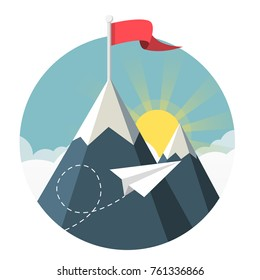 paper aeroplane flying over clouds with sun and mountains flat design icon