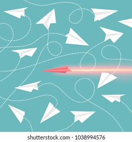 Paper aircrafts collection, aircrafts made of sheet of paper, handmade airplanes with lines as trajectories, vector illustration isolated on blue