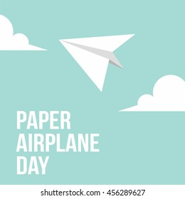 Paper airplane day vector illustration. flat style Design