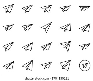 Paper airplane design icons set. Thin line vector icons for mobile concepts and web apps. Premium quality icons in trendy flat style. Collection of high-quality black outline logo