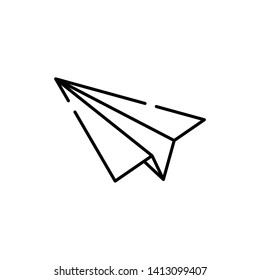 Paper Airplane Facing Left Simple Line Stock Vector Royalty Free
