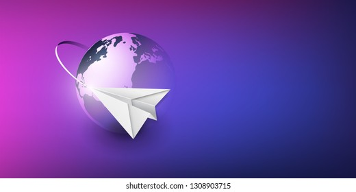 Paper Airplane Flying Around the Earth Globe - Transportation, Traveling Concept, Vector Design