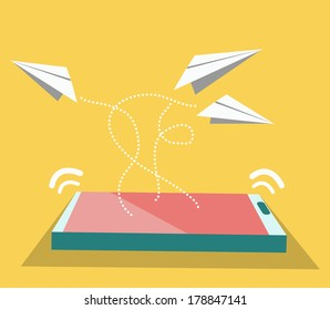 Paper airplane flying from smart phone. Technology Concept. vector
