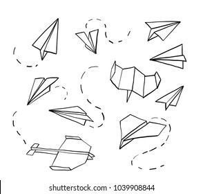 Paper airplane. Hand drawn doodle airplane. Vector
