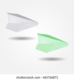 Paper airplane, high resolution flat triangle polygon vector eps10
