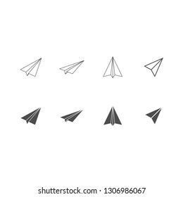 Paper airplane icon set . Vector . EPS 10