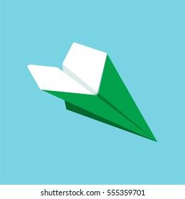 Paper airplane Minimalistic Flat Line Color Icon Pictogram Illustration