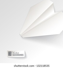 Paper airplane origami. Vector illustration, contains transparencies, gradients and effects.