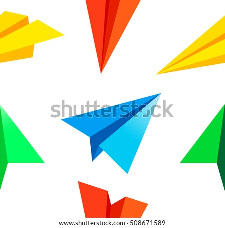 paper airplane pattern vector illustration stock vector royalty