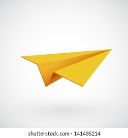 Paper airplane, Plane 3d icon, Vector illustration