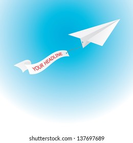 paper airplane pulling advertisement ribbon banner . business metaphor. vector illustration