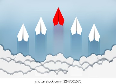 paper airplane red and white are competition up to the sky between cloud natural landscape go to target. startup. leadership. concept of business success. creative idea. cartoon vector illustration