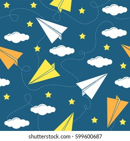 Paper airplane seamless pattern with clouds and stars. Line design concept