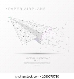 Paper airplane shape point, line and composition digitally drawn in the form of broken a part triangle shape and scattered dots low poly wire frame on white background.