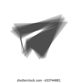 Paper airplane sign. Vector. Gray icon shaked at white background.