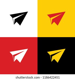 Paper airplane sign. Vector. Icons of german flag on corresponding colors as background.